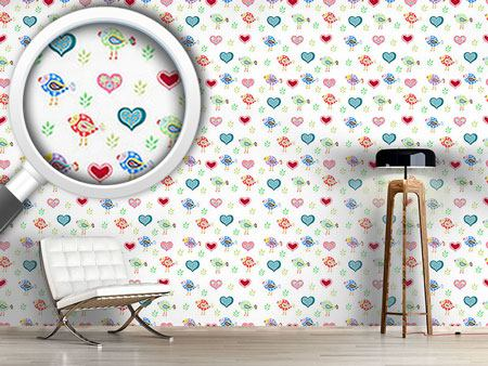 Pattern Wallpaper Birds and Hearts