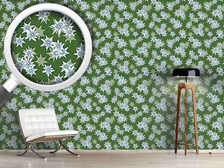 Pattern Wallpaper Edelweiss Green