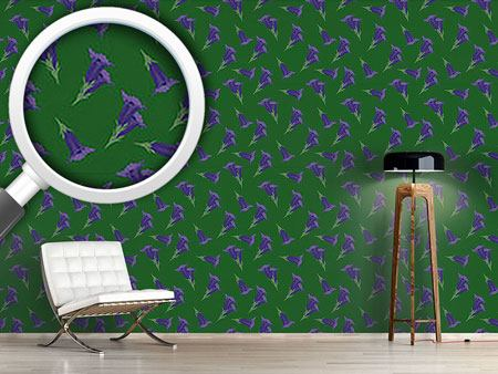 Pattern Wallpaper Gentian Green