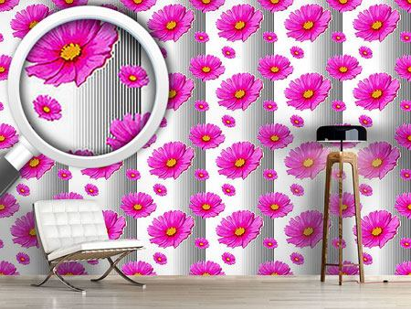 Pattern Wallpaper Pink Cosmea