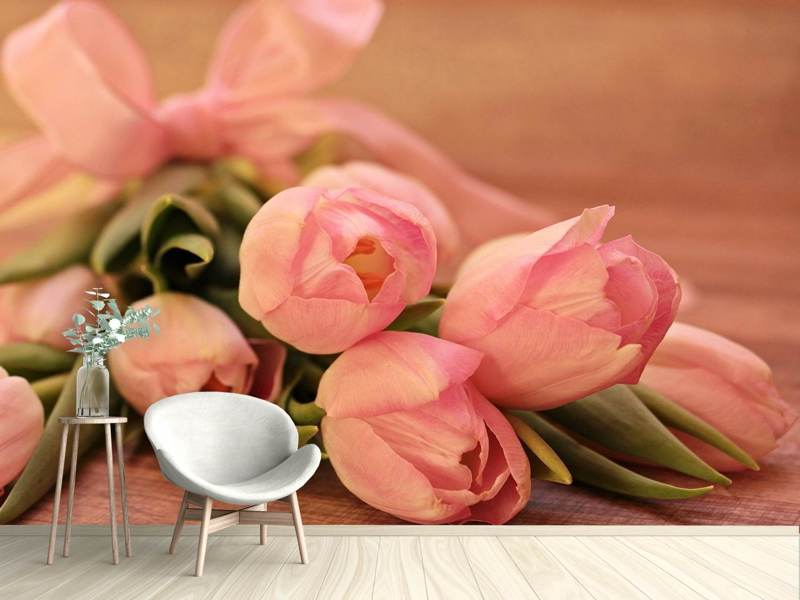 Photo Wallpaper Romantic tulip bouquet