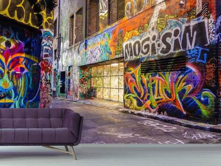 Photo Wallpaper Houses with graffiti
